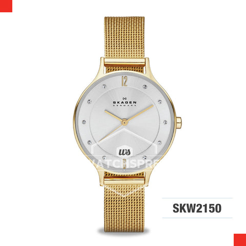 Skagen Ladies Anita Gold Steel Mesh Watch SKW2150