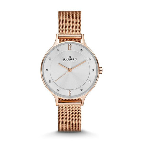 Skagen Ladies' Anita Rose Gold-Tone Steel Mesh Watch SKW2151