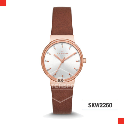 Skagen Ladies Ancher Brown Leather Watch SKW2260