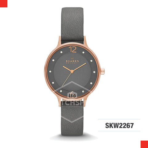 Skagen Ladies Anita Grey Leather Watch SKW2267