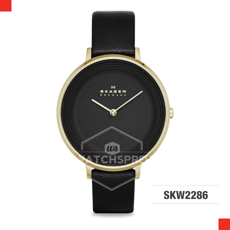 Skagen Ladies Ditte Black Leather Watch SKW2286