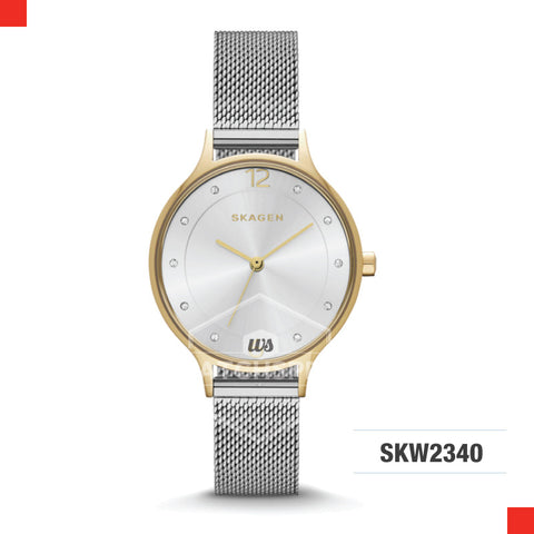 Skagen Ladies Anita Silver Stainless Steel Mesh Bracelet Watch SKW2340