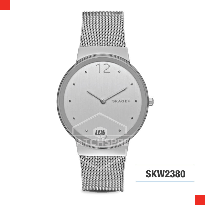 Skagen Ladies Freja Silver Steel Mesh Watch SKW2380
