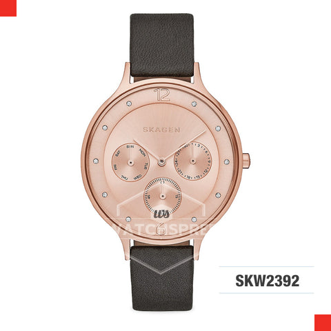 Skagen Ladies Anita Black Leather Multifunction Watch SKW2392
