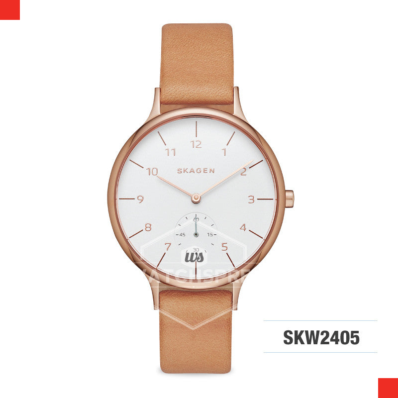 Skagen Ladies Anita Sub-Eye Brown Leather Watch SKW2405