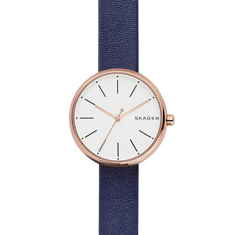 Skagen Ladies' Signature Dark Navy Leather Strap Watch SKW2592