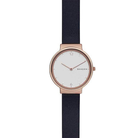 Skagen ladies' Ancher Black Leather Strap Watch SKW2608