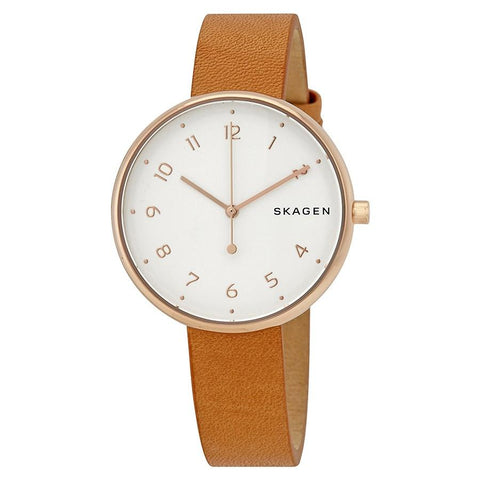 Skagen Ladies' Signature White Dial Brown Leather Watch SKW2624