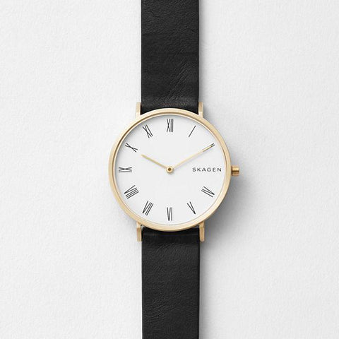 Skagen Ladies' Hald Slim Black Leather Strap Watch SKW2678