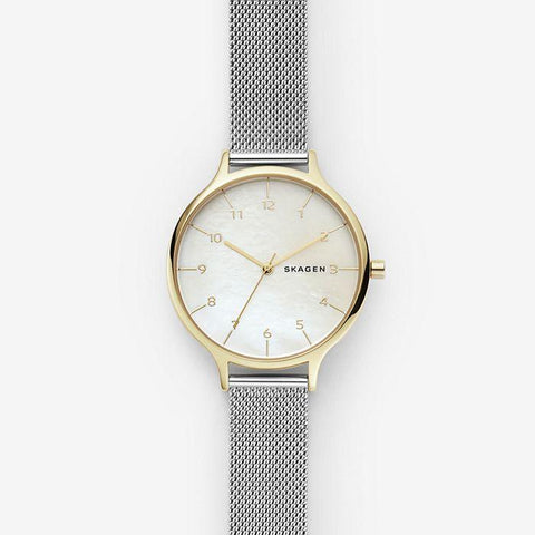 Skagen Ladies' Anita Two Tone Steel Mesh Mother of Pearl Watch SKW2702