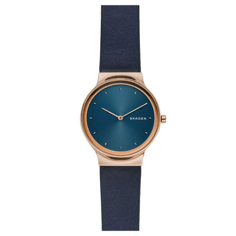 Skagen Ladies' Freja Navy Blue Leather Watch SKW2706