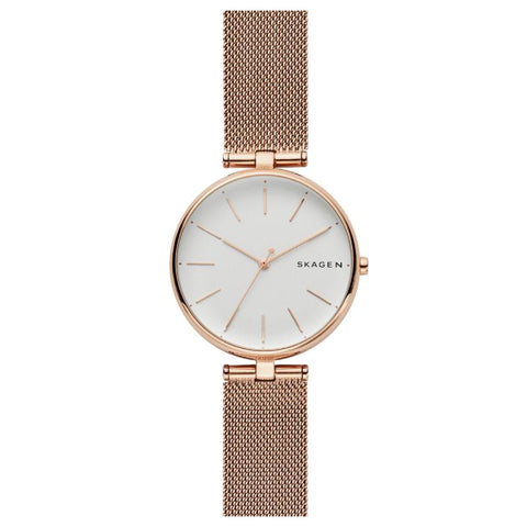 Skagen Ladies' Signatur T-Bar Rose Gold Tone Steel Mesh Watch SKW2709