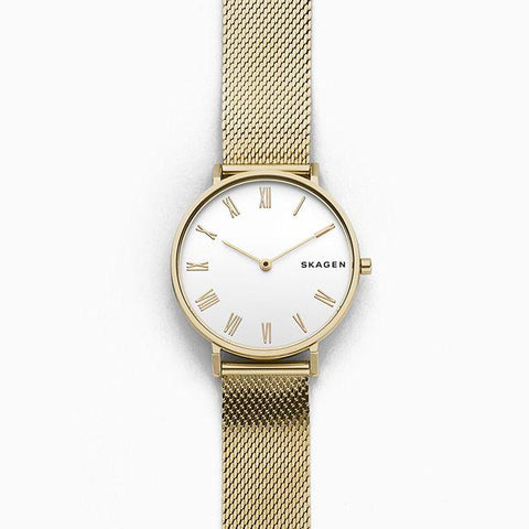 Skagen Ladies' Hald Gold Tone Silk Mesh Watch SKW2713