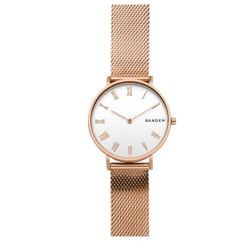 Skagen Ladies' Hald Slim Rose Gold Tone Silk Mesh Watch SKW2714