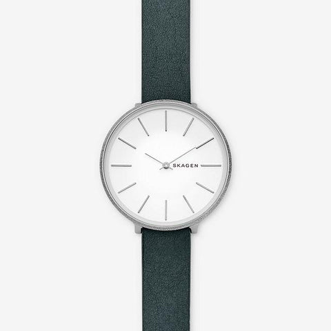 Skagen Karolina Green Leather Strap Watch SKW2724