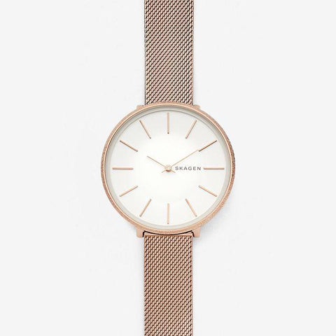 Skagen Ladies' Karolina Rose Tone Silk Mesh Watch SKW2726
