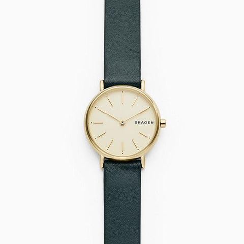 Skagen Ladies' Signatur Slim Green Leather Strap Watch SKW2727