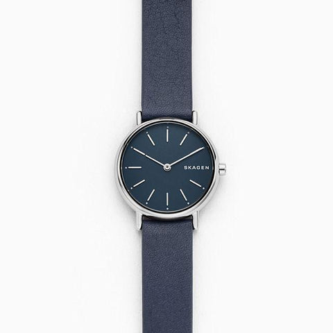 Skagen Ladies' Signatur Slim Blue Leather Strap Watch SKW2728