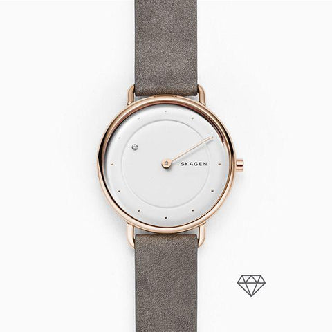 Skagen Ladies' Horisont Special Edition Genuine Diamond Grey Leather Watch SKW2739