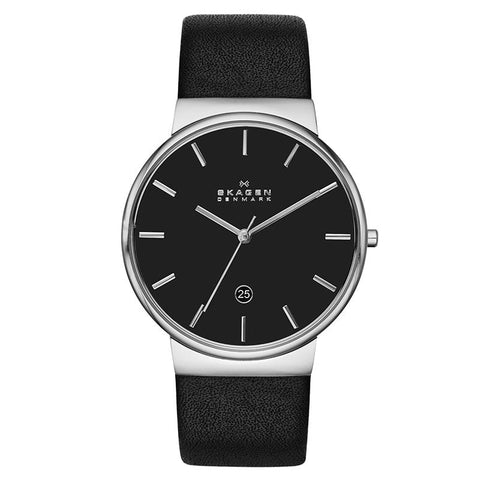 Skagen Men's Ancher Black Leather Watch SKW6104