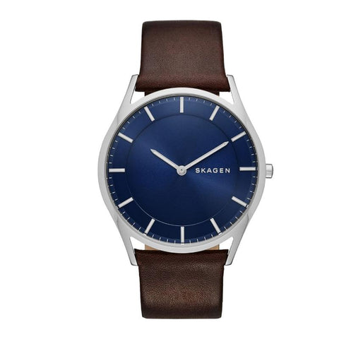 Skagen Men's Holst Slim Dark Brown Leather Watch SKW6237