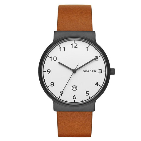 Skagen Men's Ancher Brown Leather Watch SKW6297