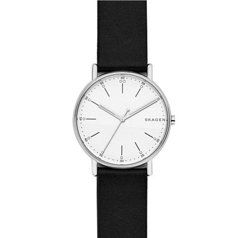 Skagen Men's Signature Black Leather Strap Watch SKW6353