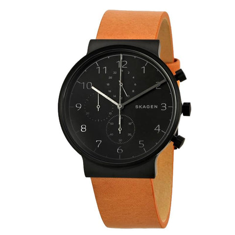 Skagen Men's Ancher Chronograph Brown Leather Strap Watch SKW6359