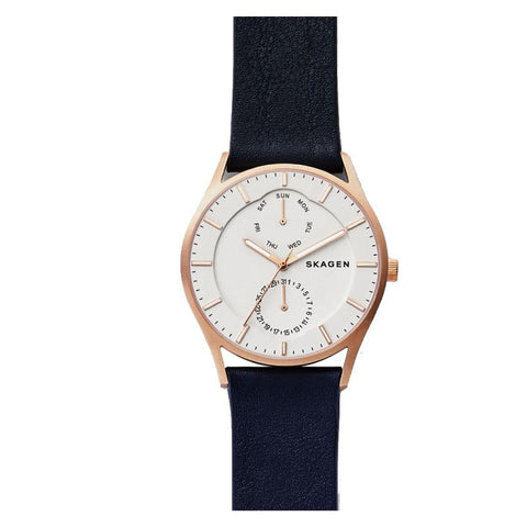 Skagen Men's Holst Dark Blue Leather Multifunction Watch SKW6372