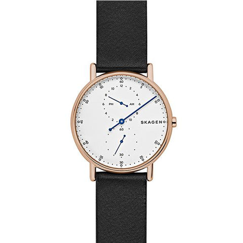 Skagen Men's Sgnatur One Hand Black Leather Watch SKW6390