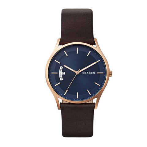 Skagen Men's Holst Dark Brown Leather Strap Watch SKW6395