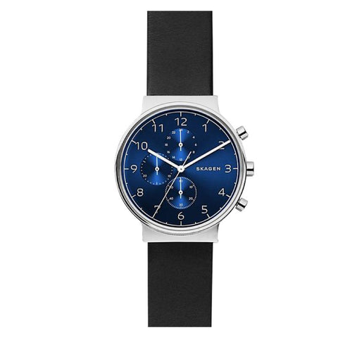 Skagen Men's Ancher Black Leather Chronograph Watch SKW6417
