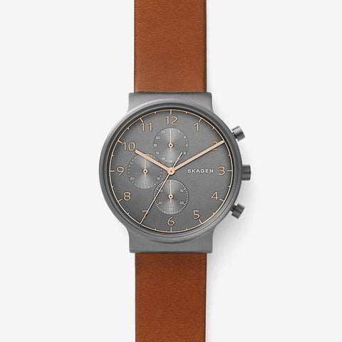 Skagen Men's Ancher Brown Leather Chronograph Watch SKW6418
