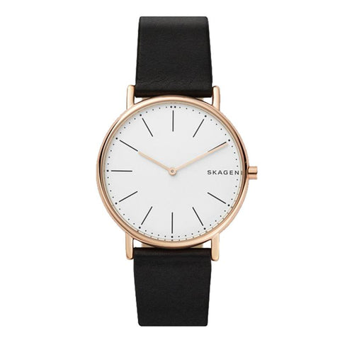 Skagen Men's Signature Slim Titanium and Black Leather Strap Watch SKW6430