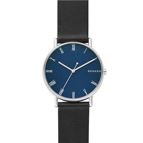 Skagen Men's Signature Black Leather Strap Watch SKW6434