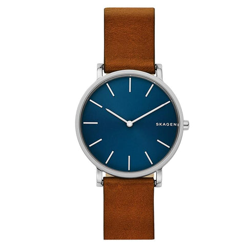 Skagen Men's Hagen Slim Brown Leather Strap Watch SKW6446
