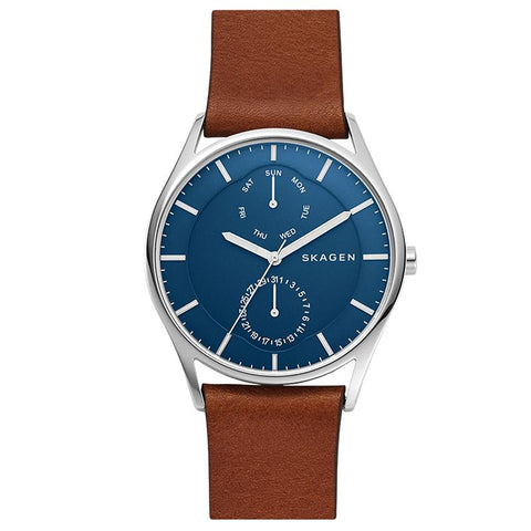 Skagen Men's Holst Multifunction Brown Leather Strap Watch SKW6449