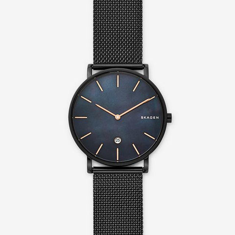 Skagen Men's Hagen Slim Mother of Pearl Black Steel Mesh Watch SKW6472