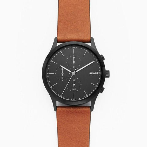 Skagen Men's Jorn Brown Leather Strap Chronograph Watch SKW6477