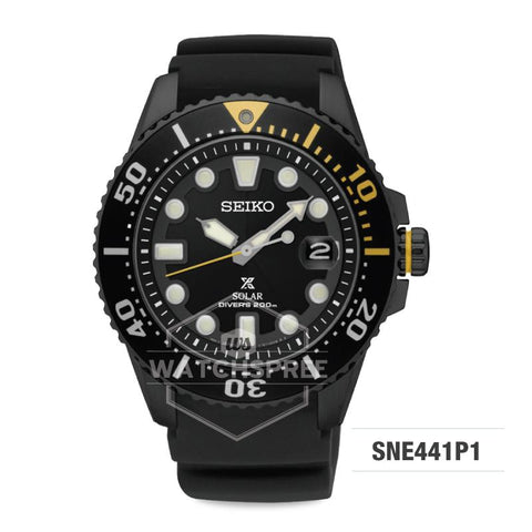 Seiko Prospex Solar Air Diver's Series Automatic Black Urethane Strap Watch SNE441P1