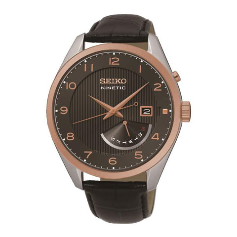 Seiko Men's Kinetic Black Calf Leather Strap Watch SRN070P1