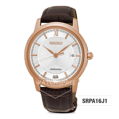 Seiko Presage (Japan Made) Automatic Dark Brown Calf Leather Strap Watch SRPA16J1