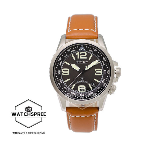 Seiko Prospex Land Series Automatic Brown Leather Strap Watch SRPA75K1