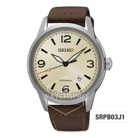 Seiko Presage (Japan Made) Automatic Dark Brown Calf Leather Strap Watch SRPB03J1