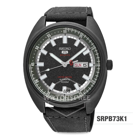 Seiko 5 Sports Automatic Limited Edition Black Leather Strap Watch SRPB73K1