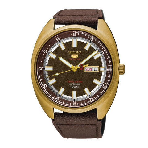 Seiko 5 Sports Automatic Limited Edition Brown Leather Strap Watch SRPB74K1