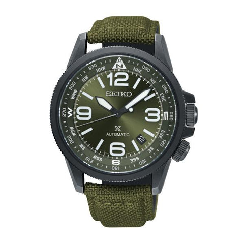 Seiko Prospex Land Series Automatic Green Canvas Strap Watch SRPC33K1