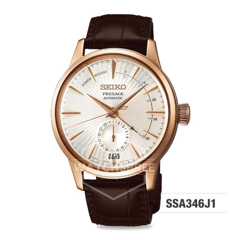 Seiko Presage (Japan Made) Automatic Dark Brown Calf Leather Strap Watch SSA346J1