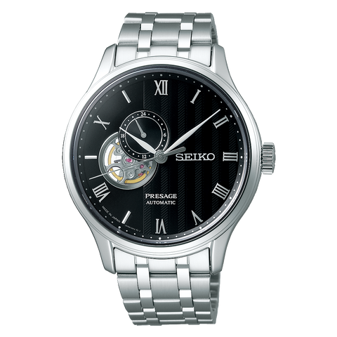 Seiko Presage (Japan Made) Open Heart Automatic Silver Stainless Steel Band Watch SSA377J1