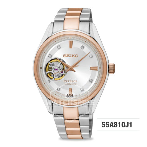 Seiko Presage (Japan Made) Swarovski Crystal Open Heart Automatic Two-tone Stainless Steel Band Watch SSA810J1